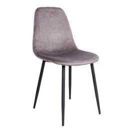Šedá sametová jídelní židle Nordic Living Raya