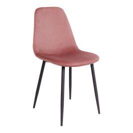 Růžová sametová jídelní židle Nordic Living Raya