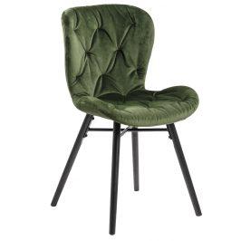 SCANDI Tmavě zelená sametová jídelní židle Matylda