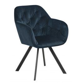 SCANDI Tmavě modrá sametová jídelní židle Thalia