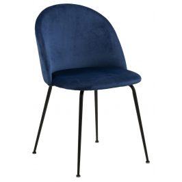SCANDI Tmavě modrá čalouněná jídelní židle Harper