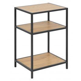 SCANDI Přírodní noční stolek Darila 42 cm s černou podnoží