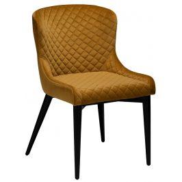 DAN-FORM Okrově žlutá sametová židle DanForm Vetro s černou podnoží