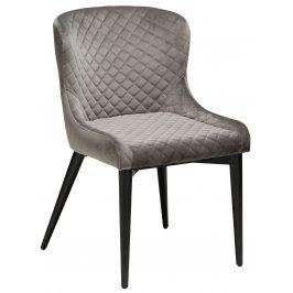 DAN-FORM Světle šedá sametová židle DanForm Vetro s černou podnoží