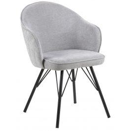 SCANDI Šedá čalouněná jídelní židle Adriana II. s černou podnoží