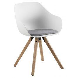 SCANDI Bílá čalouněná jídelní židle Durana s dřevěnou podnoží