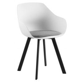 SCANDI Bílá čalouněná jídelní židle Durana s kovovou podnoží