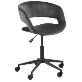 SCANDI Tmavě šedá sametová konferenční židle Garry