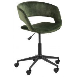 SCANDI Tmavě zelená sametová konferenční židle Garry