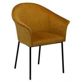 DAN-FORM Hořčicová sametová jídelní židle DanForm Kite