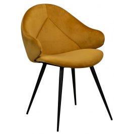 DAN-FORM Hořčicová  sametová jídelní židle DanForm Manta