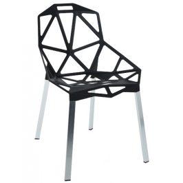 Culty Gold Černá kovová jídelní židle Maxwell se stříbrnou podnoží