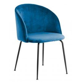 Modrá sametová jídelní židle Laforma Laudelina