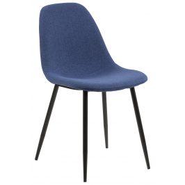 SCANDI Tmavě modrá čalouněná jídelní židle Wanda s černou podnoží