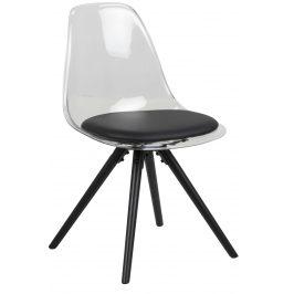 SCANDI Transparentní plastová jídelní židle Carly s černým sedákem