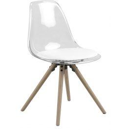 SCANDI Transparentní plastová jídelní židle Carly s bílým sedákem
