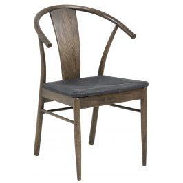 SCANDI Hnědá dřevěná jídelní židle Vega s pleteným sedákem