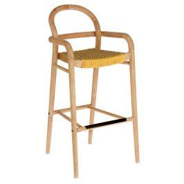 Hořčicově žlutá dřevěná zahradní barová židle LaForma Sheryl 110 cm
