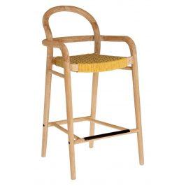 Hořčicově žlutá dřevěná zahradní barová židle LaForma Sheryl 100 cm
