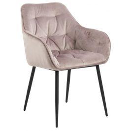 SCANDI Světle růžová sametová jídelní židle Norman