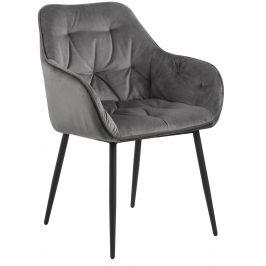 SCANDI Tmavě šedá sametová jídelní židle Norman