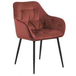 SCANDI Korálově červená sametová jídelní židle Norman