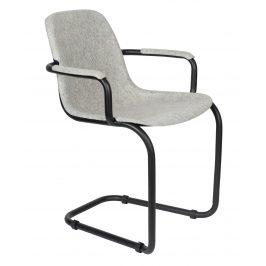Světle šedá plastová jídelní židle ZUIVER THIRSTY s područkami