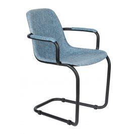 Modrá plastová jídelní židle ZUIVER THIRSTY s područkami
