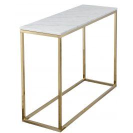 Bílý mramorový odkládací stolek RGE Accent s lesklou zlatou podnoží 100 cm