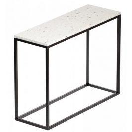 Bílý terrazzo toaletní stolek RGE Accent Bianco s černou podnoží 75 cm Toaletní stolky do ložnice