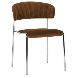 Hoorns Hnědá sametová jídelní židle Jolie