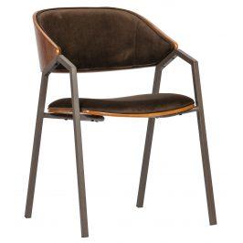 Hoorns Hnědá sametová jídelní židle Alvaro