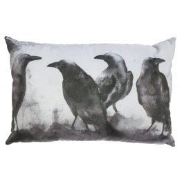 Hoorns Černobílý polštář s havrany Crow 40x60 cm