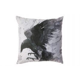 Hoorns Černobílý polštář s havrany Crow 45 x 45 cm