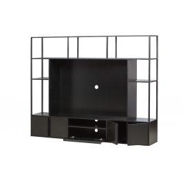 Hoorns Černá dřevěná TV stěna Parra