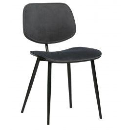 Hoorns Tmavě šedá sametová jídelní židle Gia