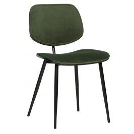 Hoorns Zelená sametová jídelní židle Gia