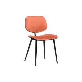 Hoorns Korálově červená sametová jídelní židle Gia