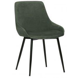 Hoorns Bledě zelená sametová jídelní židle Selena