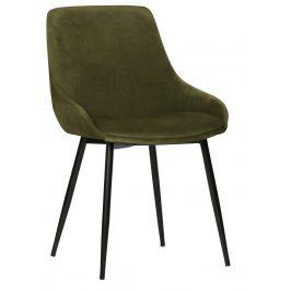 Hoorns Trávově zelená sametová jídelní židle Selena