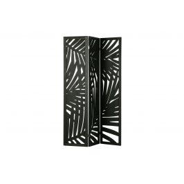 Hoorns Černý dřevěný paravan Isla s palmovým vzorem