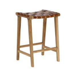 Přírodní hnědá stolička s kůží LaForma Calixta