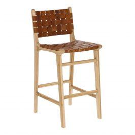 Hnědá barová židle s kůží LaForma Calixta