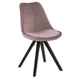 SCANDI Růžová sametová jídelní židle Damian s černou podnoží