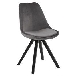 SCANDI Tmavě šedá sametová jídelní židle Damian s černou podnoží