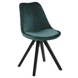 SCANDI Lahvově zelená sametová jídelní židle Damian s černou podnoží