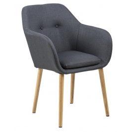 SCANDI Tmavě šedá látková jídelní židle Milla s područkami