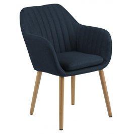 SCANDI Modrá látková jídelní židle Milla s prošíváním