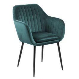SCANDI Zelená sametová jídelní židle Milla  s černou podnoží