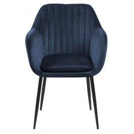 SCANDI Modrá sametová jídelní židle Milla s černou podnoží